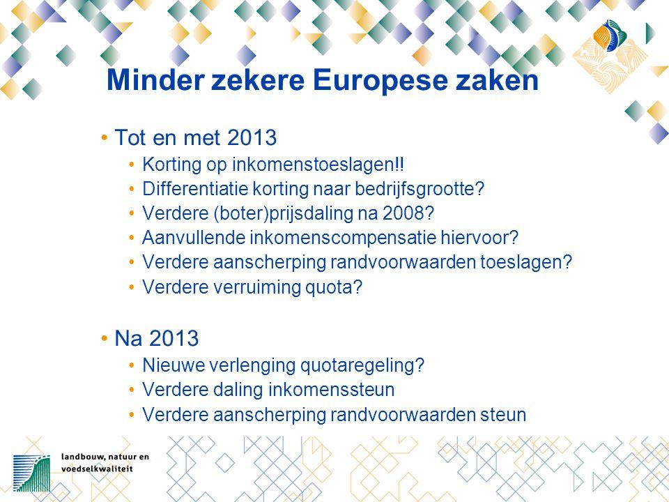 Minder zekere Europese zaken Tot en met 2013 Korting op inkomenstoeslagen!.