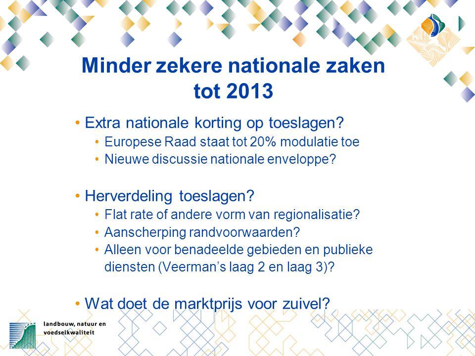 Minder zekere nationale zaken tot 2013 Extra nationale korting op toeslagen.