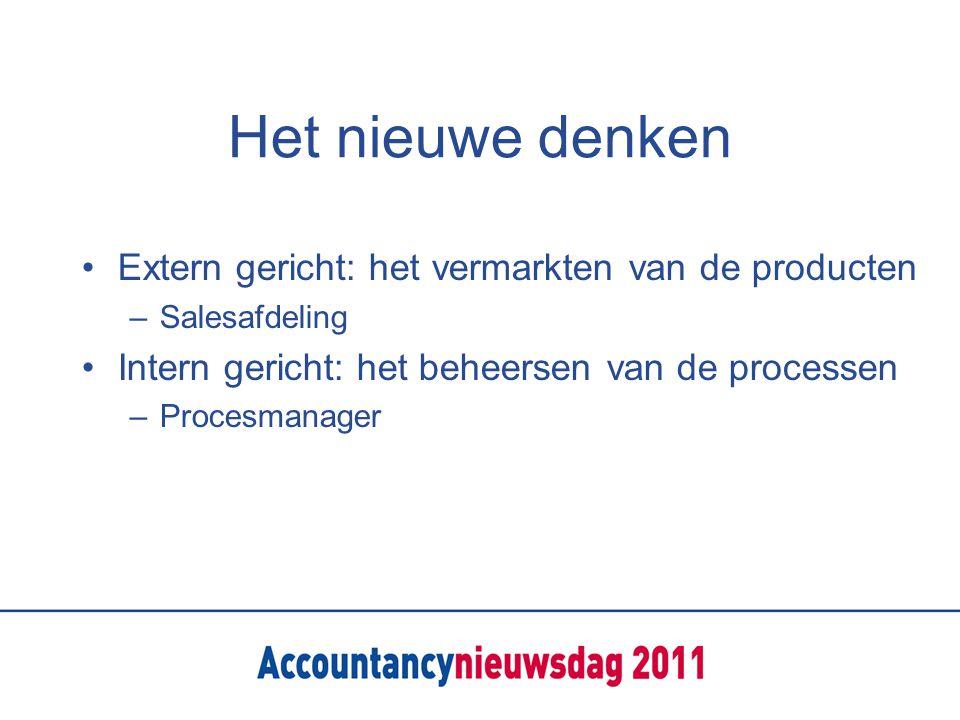 Het nieuwe denken Extern gericht: het vermarkten van de producten –Salesafdeling Intern gericht: het beheersen van de processen –Procesmanager