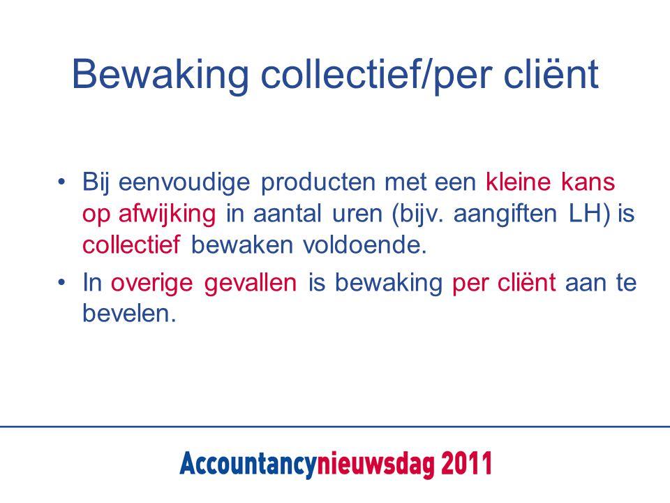 Bewaking collectief/per cliënt Bij eenvoudige producten met een kleine kans op afwijking in aantal uren (bijv.