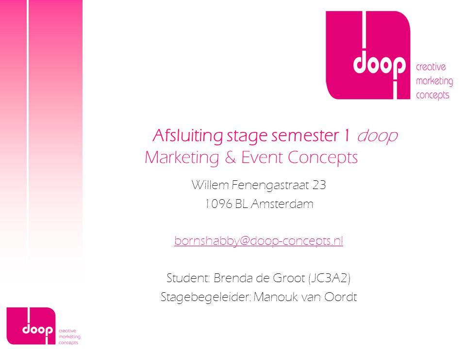 Willem Fenengastraat 23 1096 BL Amsterdam bornshabby@doop-concepts.nl Student: Brenda de Groot (JC3A2) Stagebegeleider: Manouk van Oordt Afsluiting st