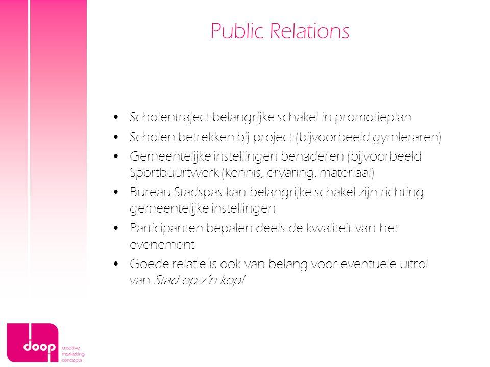 Public Relations Scholentraject belangrijke schakel in promotieplan Scholen betrekken bij project (bijvoorbeeld gymleraren) Gemeentelijke instellingen