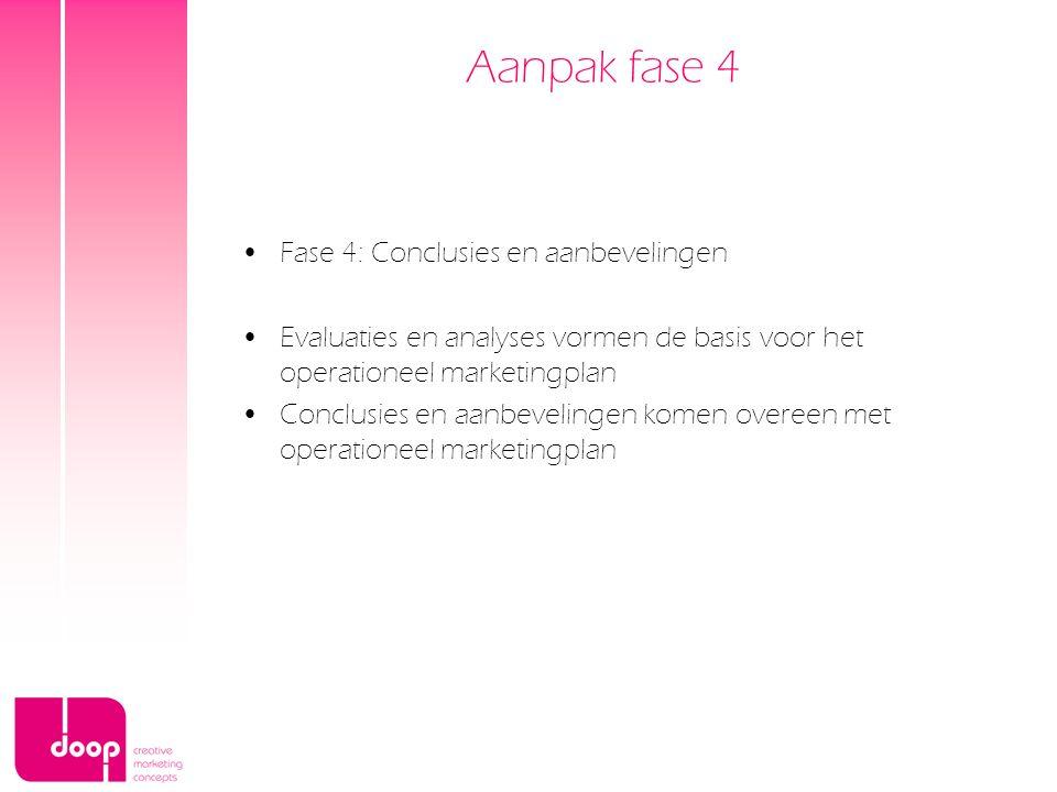 Aanpak fase 4 Fase 4: Conclusies en aanbevelingen Evaluaties en analyses vormen de basis voor het operationeel marketingplan Conclusies en aanbeveling