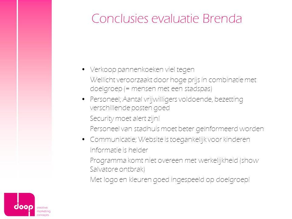 Conclusies evaluatie Brenda Verkoop pannenkoeken viel tegen Wellicht veroorzaakt door hoge prijs in combinatie met doelgroep (= mensen met een stadspa