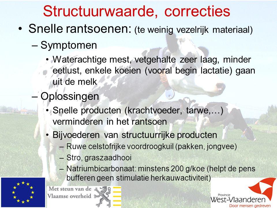 Structuurwaarde, correcties Snelle rantsoenen: (te weinig vezelrijk materiaal) –Symptomen Waterachtige mest, vetgehalte zeer laag, minder eetlust, enk