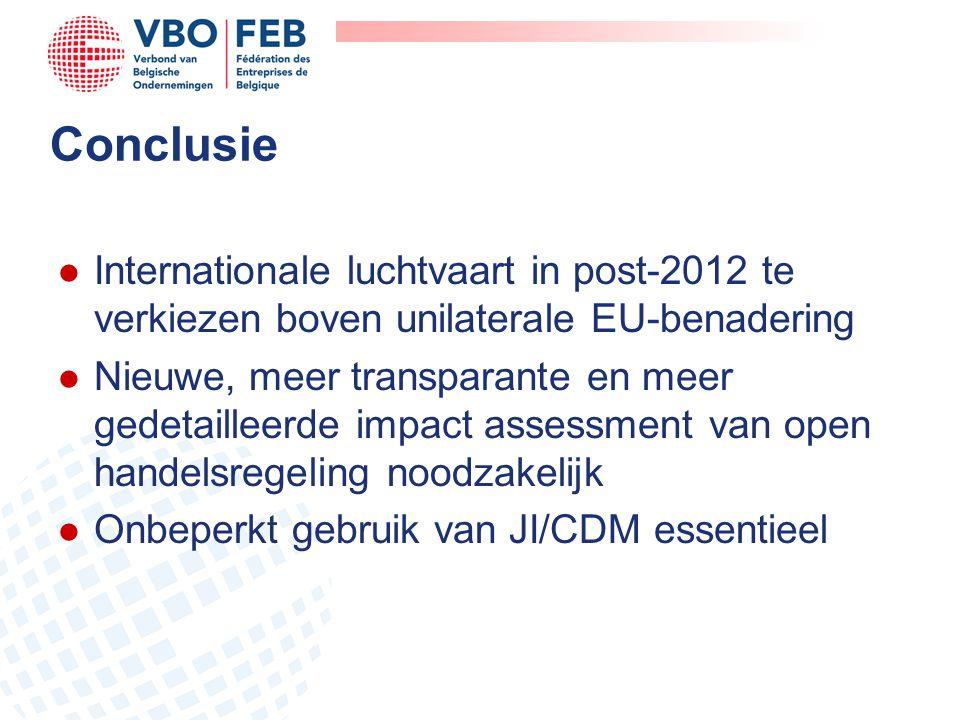 Conclusie l Internationale luchtvaart in post-2012 te verkiezen boven unilaterale EU-benadering l Nieuwe, meer transparante en meer gedetailleerde impact assessment van open handelsregeling noodzakelijk l Onbeperkt gebruik van JI/CDM essentieel