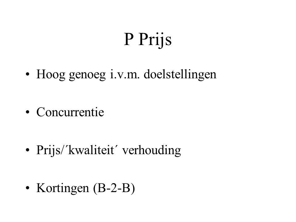 P Prijs Hoog genoeg i.v.m.