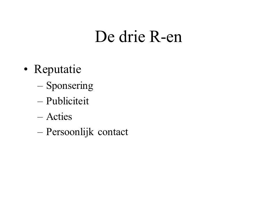 De drie R-en Reputatie –Sponsering –Publiciteit –Acties –Persoonlijk contact