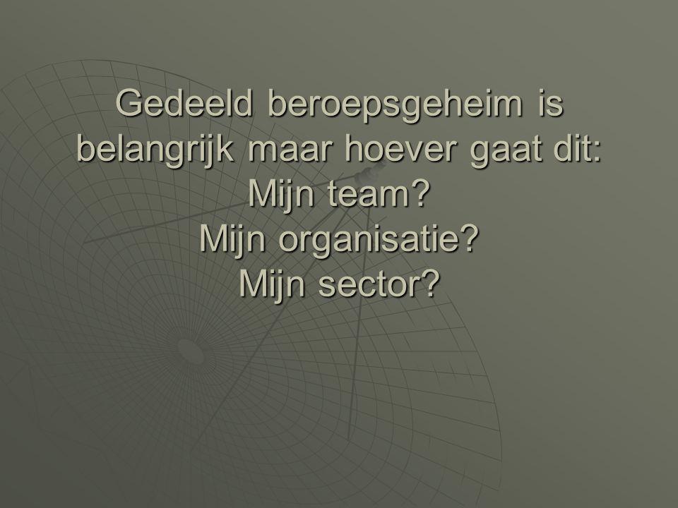 Gedeeld beroepsgeheim is belangrijk maar hoever gaat dit: Mijn team? Mijn organisatie? Mijn sector?