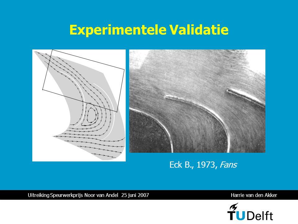 Uitreiking Speurwerkprijs Noor van Andel 25 juni 2007 Harrie van den Akker 1 Experimentele Validatie Eck B., 1973, Fans