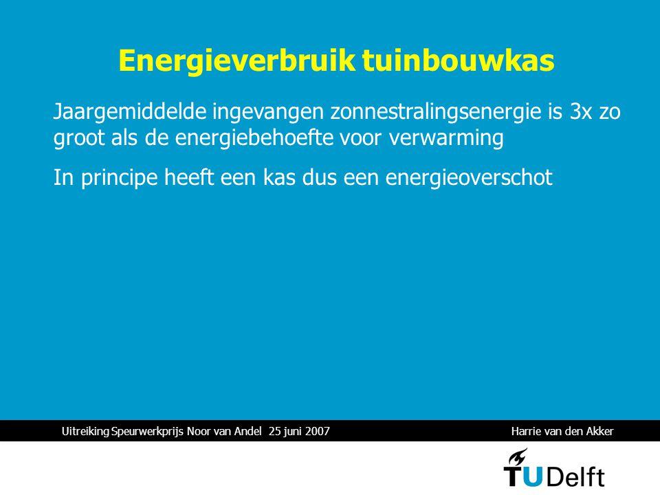 Uitreiking Speurwerkprijs Noor van Andel 25 juni 2007 Harrie van den Akker 1 Energieverbruik tuinbouwkas Jaargemiddelde ingevangen zonnestralingsenergie is 3x zo groot als de energiebehoefte voor verwarming In principe heeft een kas dus een energieoverschot