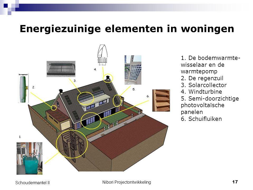 Nibori Projectontwikkeling17 Schoudermantel II Energiezuinige elementen in woningen 1. De bodemwarmte- wisselaar en de warmtepomp 2. De regenzuil 3. S