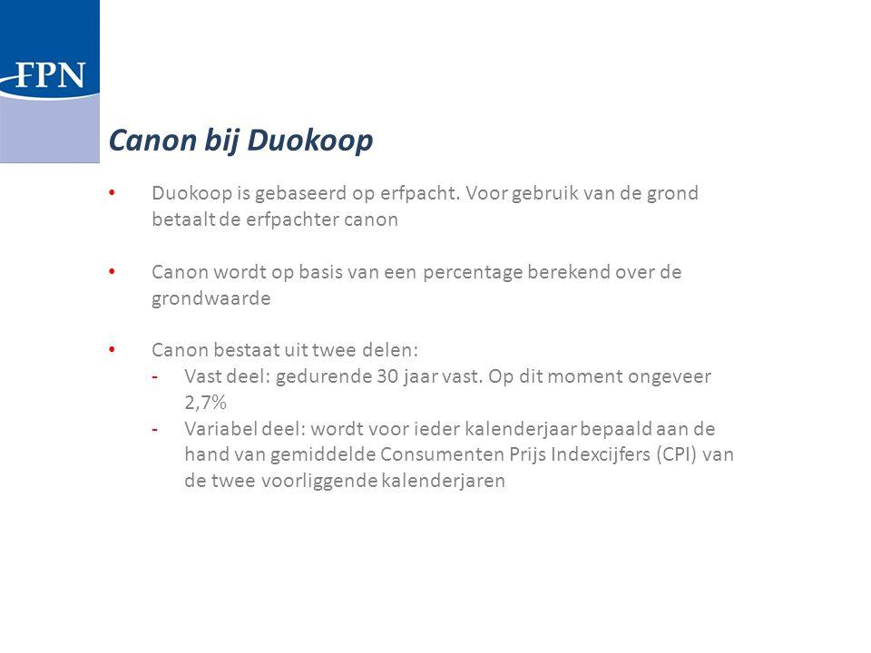 Duokoop is gebaseerd op erfpacht. Voor gebruik van de grond betaalt de erfpachter canon Canon wordt op basis van een percentage berekend over de grond