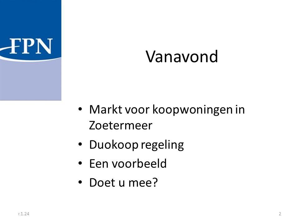 r.1.242 Vanavond Markt voor koopwoningen in Zoetermeer Duokoop regeling Een voorbeeld Doet u mee?