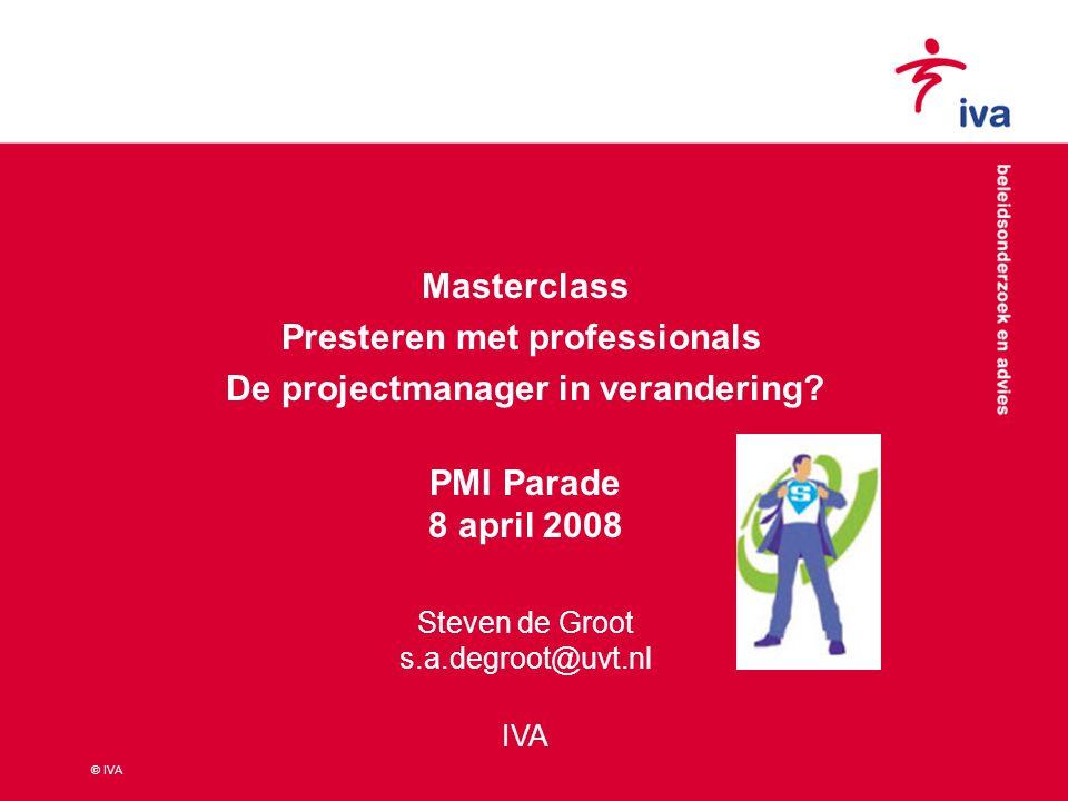 © IVA 1.Inrichting van project als leeromgeving: binnen én buiten 2.Leren in project expliciet maken: leerdoelen vooraf, tijdens en achteraf Leren en de PM in verandering 2