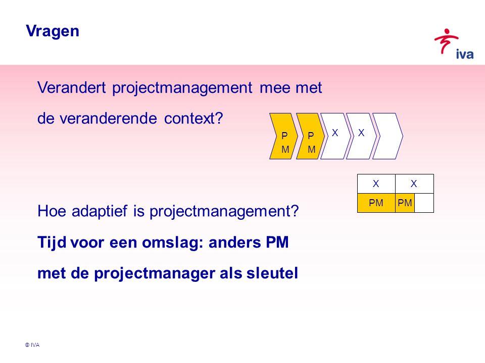 © IVA 1.De professional wil geen structuur…… 2.Meer aanspraak maken op intrinsieke arbeidsmotieven 3.Verbinden door dialoog met stakeholders Intrinsieke motivatie en de PM in verandering 2