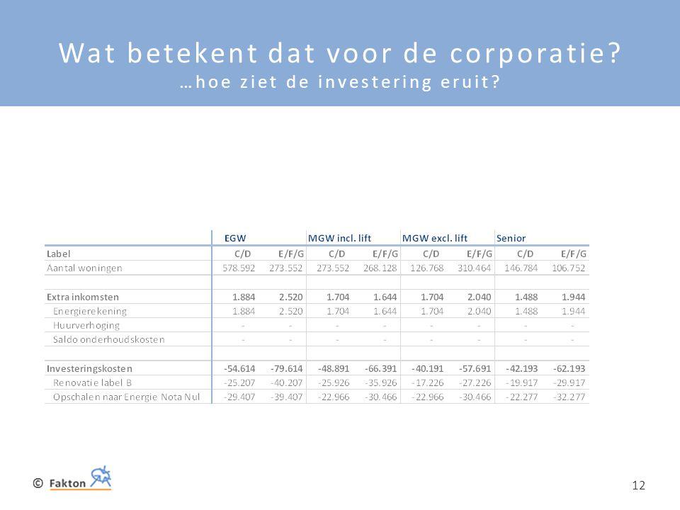 © 12 Wat betekent dat voor de corporatie? …hoe ziet de investering eruit?