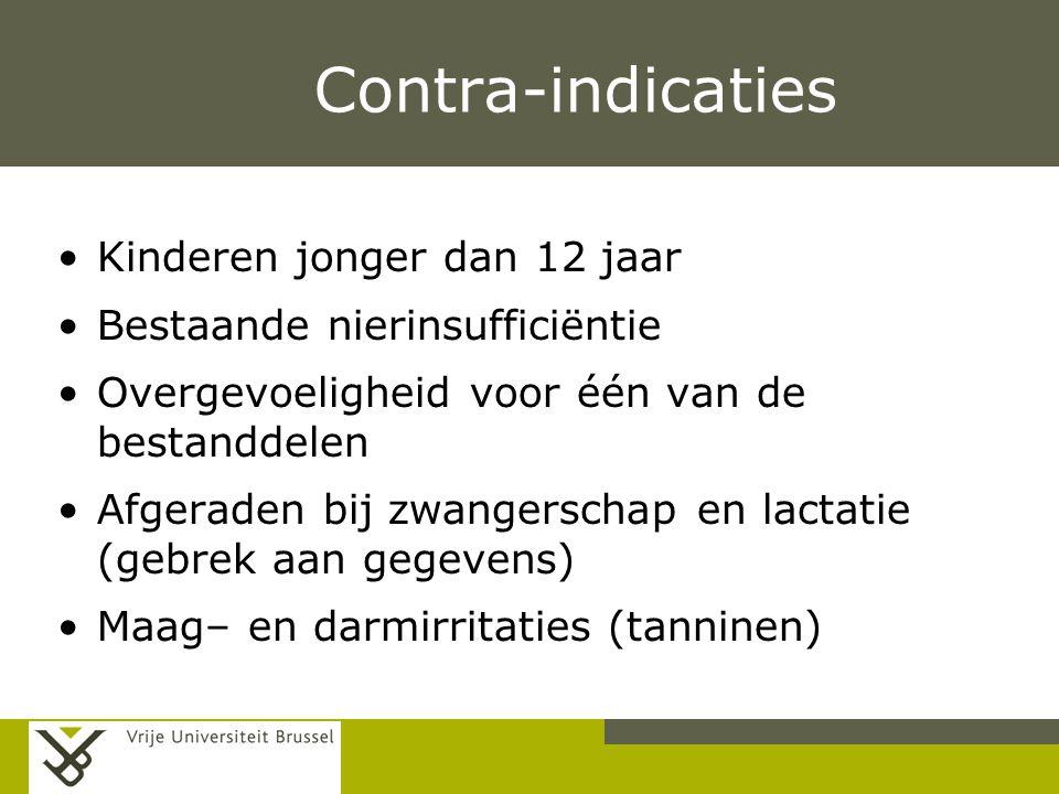 Pag. Contra-indicaties Kinderen jonger dan 12 jaar Bestaande nierinsufficiëntie Overgevoeligheid voor één van de bestanddelen Afgeraden bij zwangersch