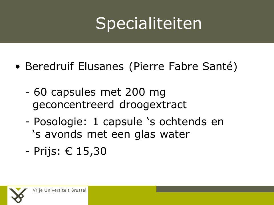 Pag. Specialiteiten Beredruif Elusanes (Pierre Fabre Santé) - 60 capsules met 200 mg geconcentreerd droogextract - Posologie: 1 capsule 's ochtends en