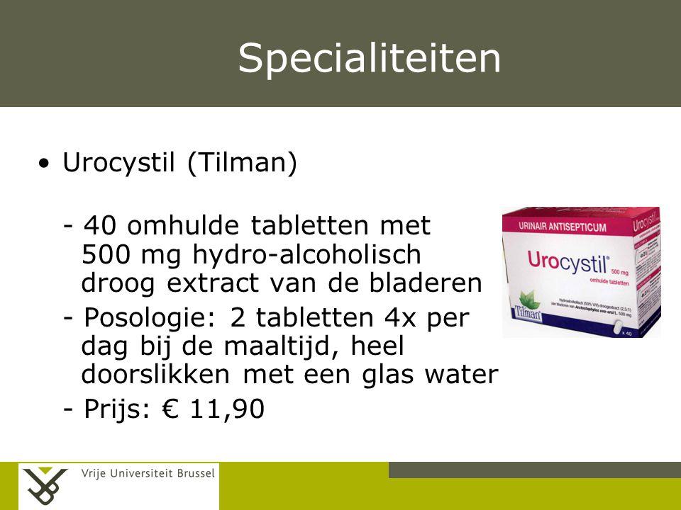 Pag. Specialiteiten Urocystil (Tilman) - 40 omhulde tabletten met 500 mg hydro-alcoholisch droog extract van de bladeren - Posologie: 2 tabletten 4x p