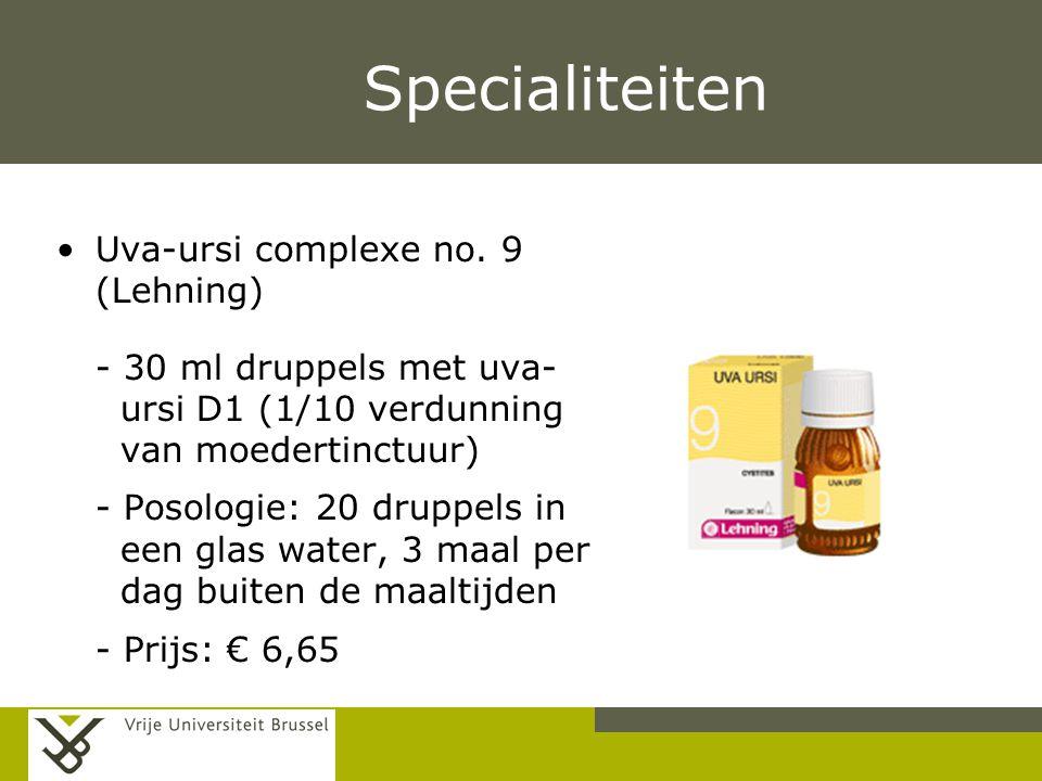 Pag. Specialiteiten Uva-ursi complexe no. 9 (Lehning) - 30 ml druppels met uva- ursi D1 (1/10 verdunning van moedertinctuur) - Posologie: 20 druppels