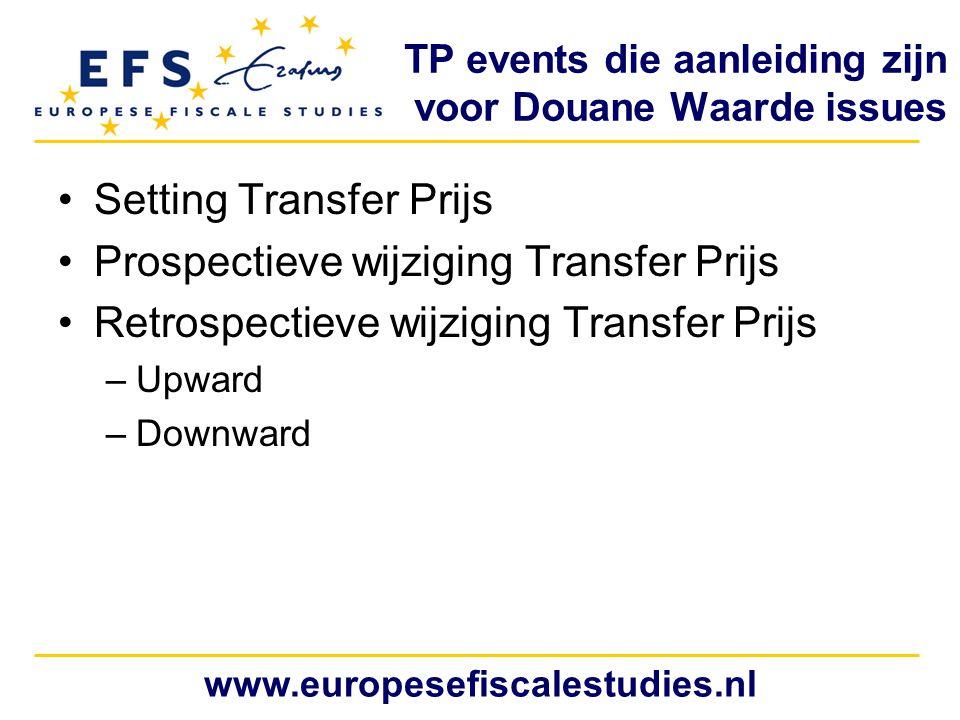 www.europesefiscalestudies.nl TP events die aanleiding zijn voor Douane Waarde issues Setting Transfer Prijs Prospectieve wijziging Transfer Prijs Ret