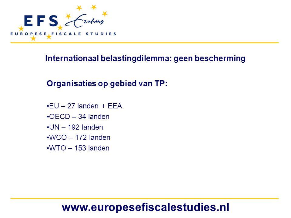 www.europesefiscalestudies.nl Internationaal belastingdilemma: geen bescherming Organisaties op gebied van TP: EU – 27 landen + EEA OECD – 34 landen U