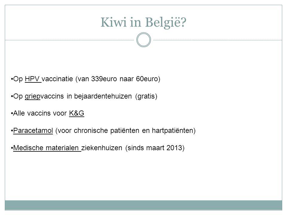 Kiwi in België? Op HPV vaccinatie (van 339euro naar 60euro) Op griepvaccins in bejaardentehuizen (gratis) Alle vaccins voor K&G Paracetamol (voor chro