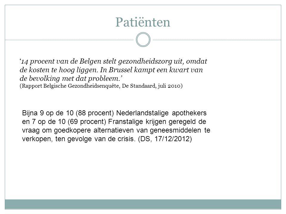 '14 procent van de Belgen stelt gezondheidszorg uit, omdat de kosten te hoog liggen. In Brussel kampt een kwart van de bevolking met dat probleem.' (R