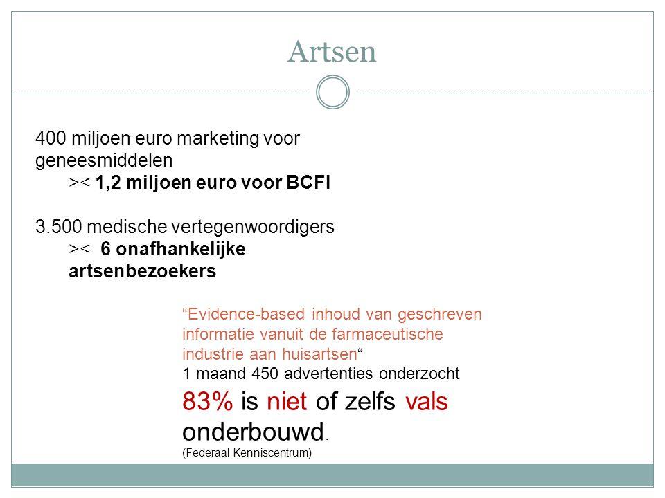 """400 miljoen euro marketing voor geneesmiddelen >< 1,2 miljoen euro voor BCFI 3.500 medische vertegenwoordigers >< 6 onafhankelijke artsenbezoekers """"Ev"""