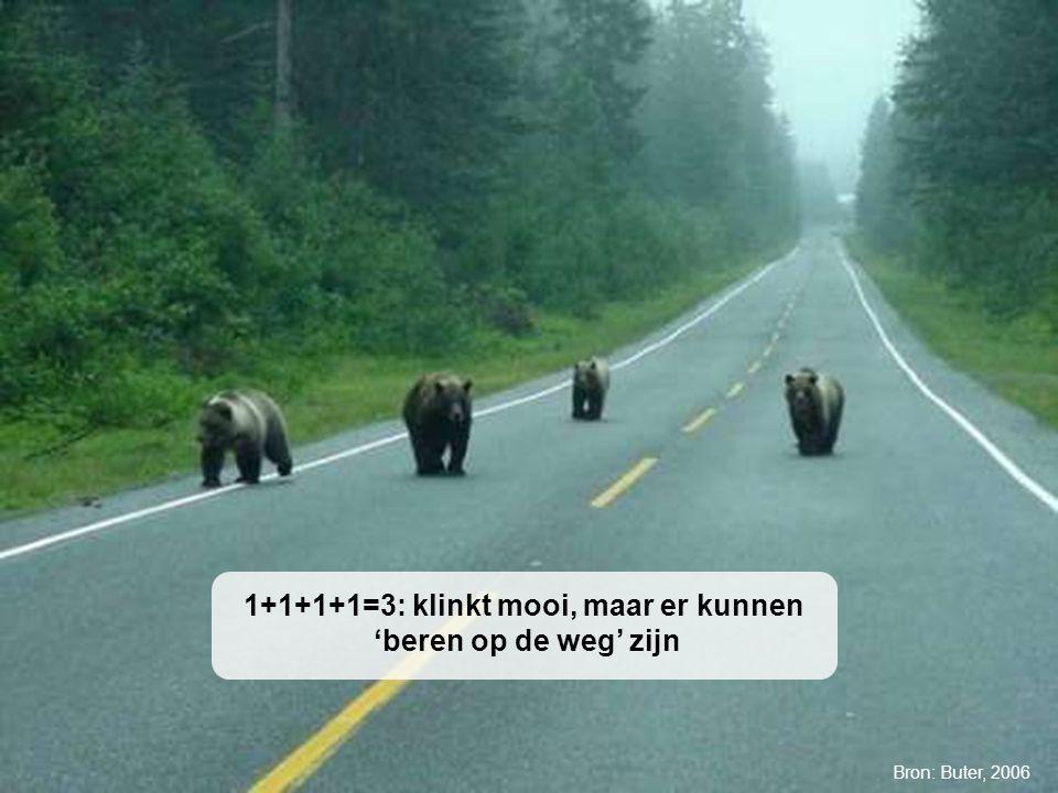 University of Twente Initiative for Purchasing Studies (UTIPS) 5/16 1+1+1+1=3: klinkt mooi, maar er kunnen 'beren op de weg' zijn Bron: Buter, 2006