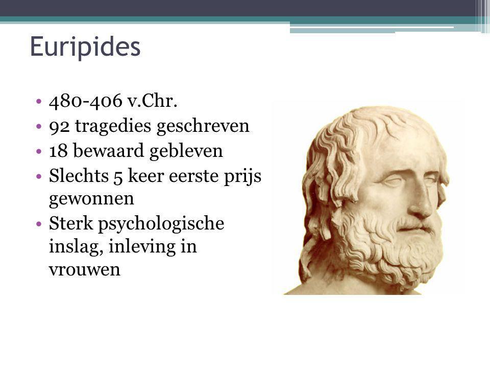 Euripides 480-406 v.Chr. 92 tragedies geschreven 18 bewaard gebleven Slechts 5 keer eerste prijs gewonnen Sterk psychologische inslag, inleving in vro