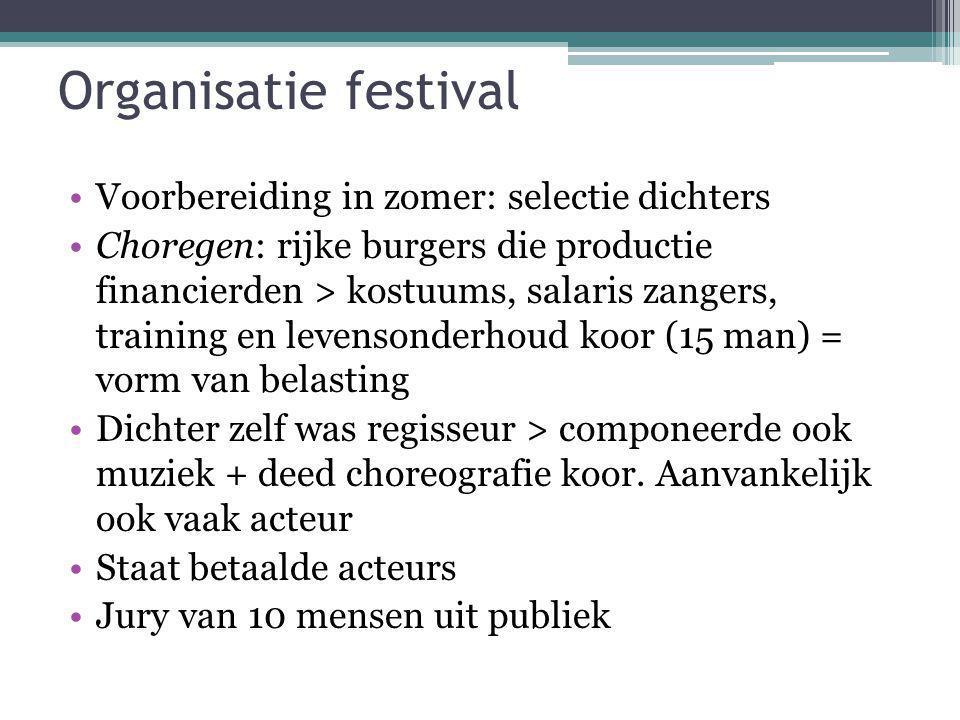 Organisatie festival Voorbereiding in zomer: selectie dichters Choregen: rijke burgers die productie financierden > kostuums, salaris zangers, trainin