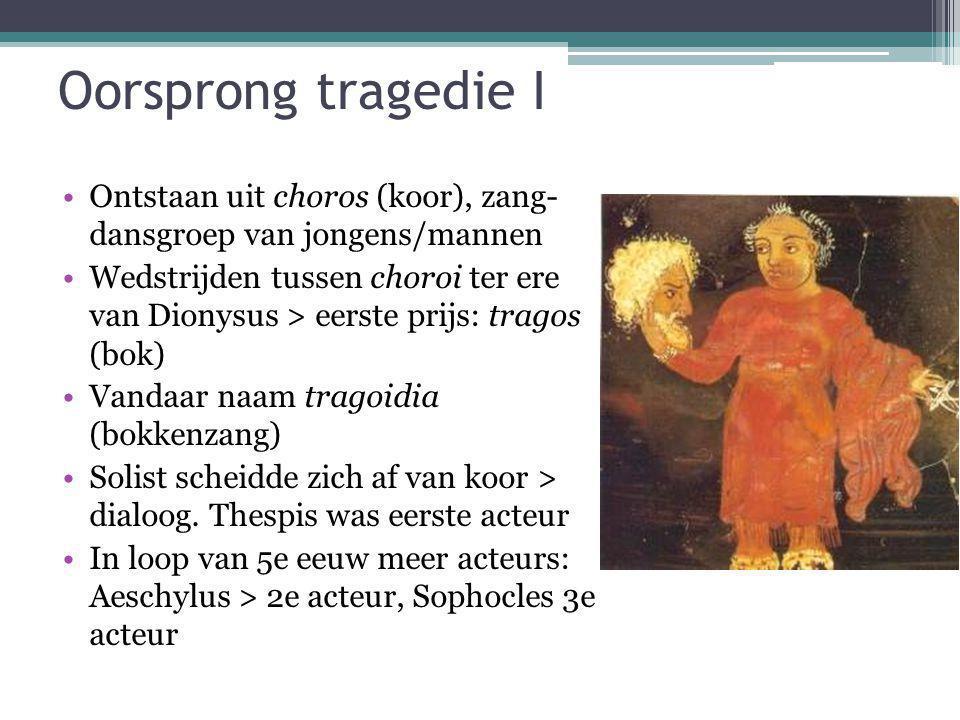 Oorsprong tragedie I Ontstaan uit choros (koor), zang- dansgroep van jongens/mannen Wedstrijden tussen choroi ter ere van Dionysus > eerste prijs: tra