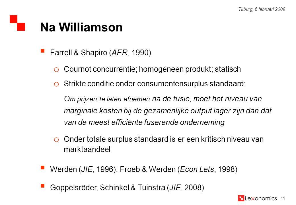 11 Tilburg, 6 februari 2009  Farrell & Shapiro (AER, 1990) o Cournot concurrentie; homogeneen produkt; statisch o Strikte conditie onder consumentens