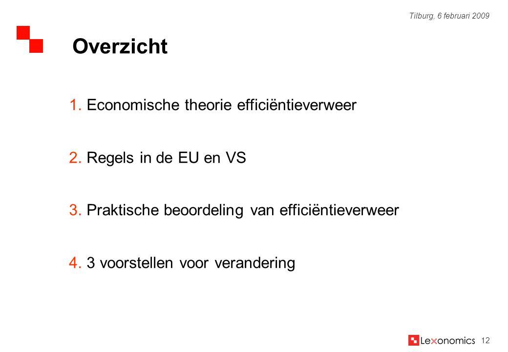 12 Tilburg, 6 februari 2009 1.Economische theorie efficiëntieverweer 2.Regels in de EU en VS 3.Praktische beoordeling van efficiëntieverweer 4.3 voors