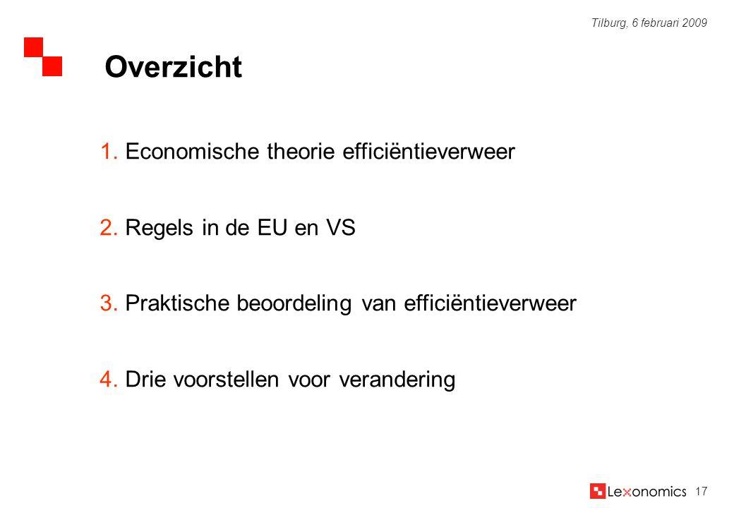 17 Tilburg, 6 februari 2009 1.Economische theorie efficiëntieverweer 2.Regels in de EU en VS 3.Praktische beoordeling van efficiëntieverweer 4.Drie vo