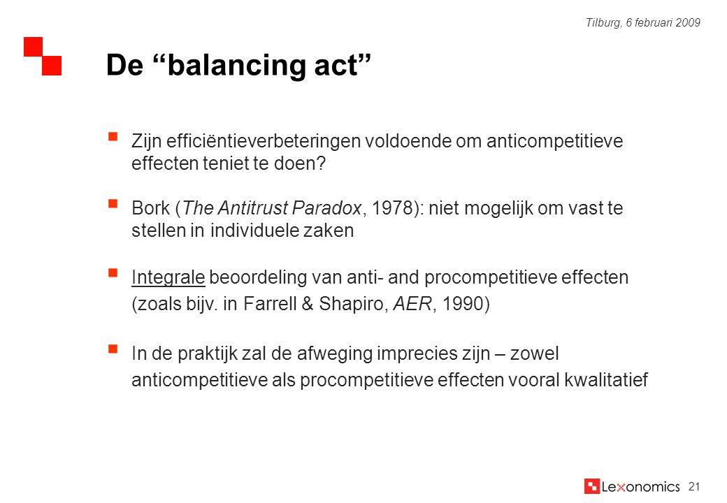21 Tilburg, 6 februari 2009  Zijn efficiëntieverbeteringen voldoende om anticompetitieve effecten teniet te doen?  Bork (The Antitrust Paradox, 1978