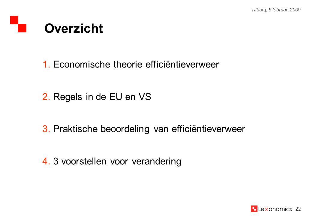 22 Tilburg, 6 februari 2009 1.Economische theorie efficiëntieverweer 2.Regels in de EU en VS 3.Praktische beoordeling van efficiëntieverweer 4.3 voors