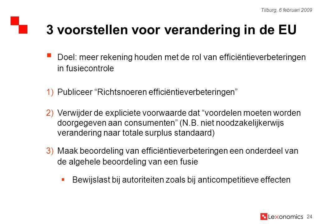 """24 Tilburg, 6 februari 2009  Doel: meer rekening houden met de rol van efficiëntieverbeteringen in fusiecontrole 1)Publiceer """"Richtsnoeren efficiënti"""