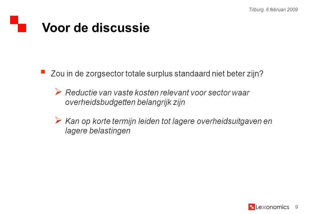 9 Tilburg, 6 februari 2009  Zou in de zorgsector totale surplus standaard niet beter zijn?  Reductie van vaste kosten relevant voor sector waar over