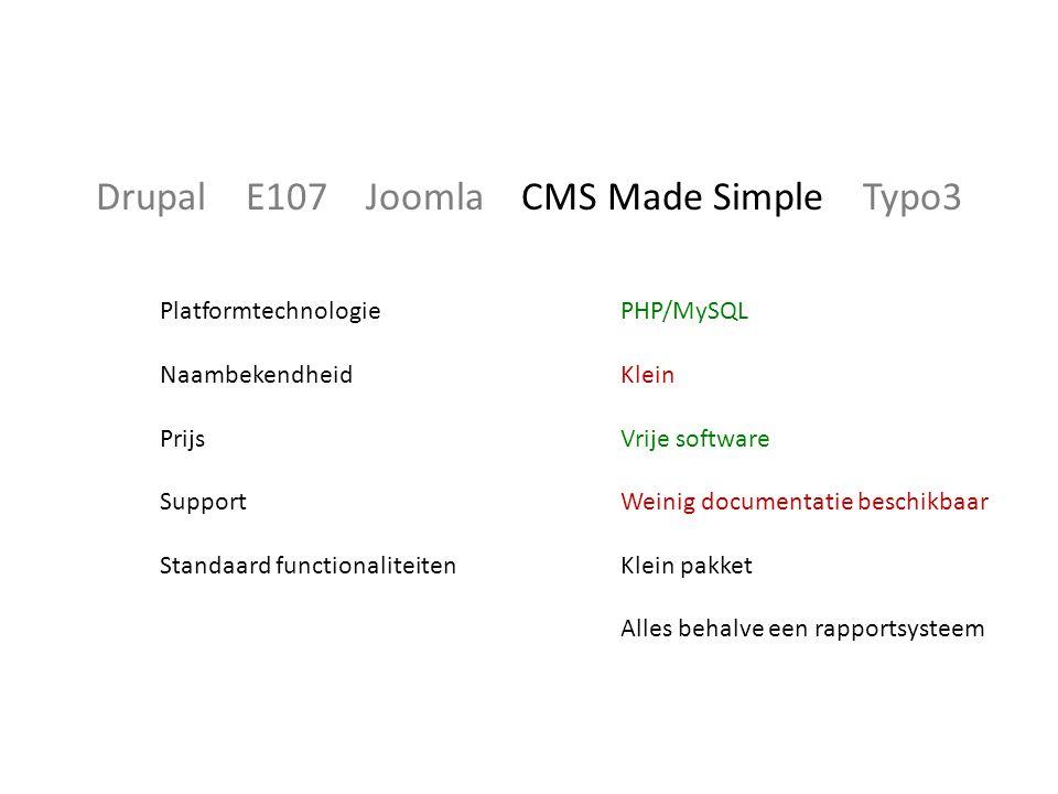 Drupal E107 Joomla CMS Made Simple Typo3 Platformtechnologie Naambekendheid Prijs Support Standaard functionaliteiten PHP/MySQL Klein Vrije software Weinig documentatie beschikbaar Klein pakket Alles behalve een rapportsysteem