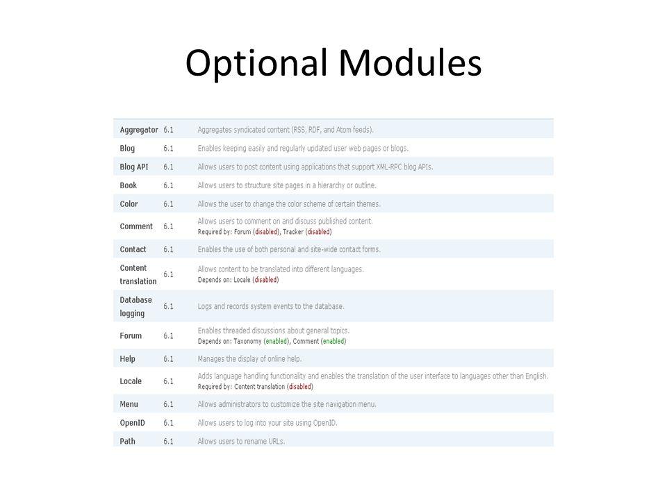 Optional Modules