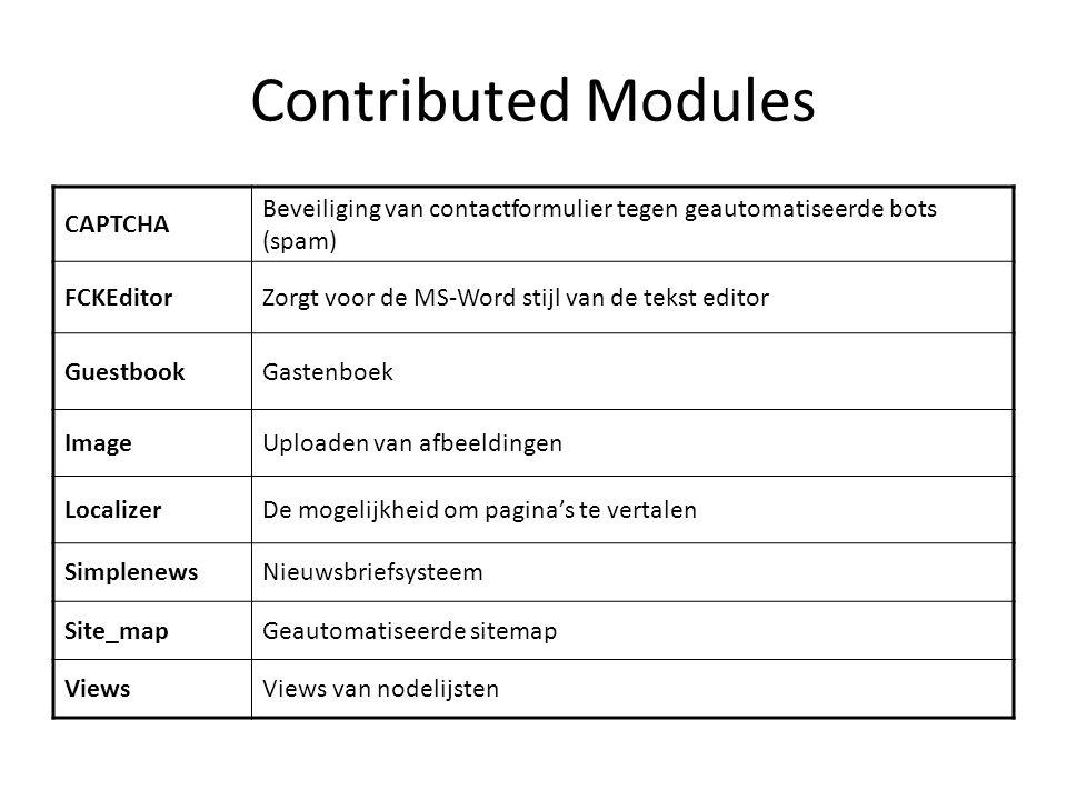 Contributed Modules CAPTCHA Beveiliging van contactformulier tegen geautomatiseerde bots (spam) FCKEditorZorgt voor de MS-Word stijl van de tekst editor GuestbookGastenboek ImageUploaden van afbeeldingen LocalizerDe mogelijkheid om pagina's te vertalen SimplenewsNieuwsbriefsysteem Site_mapGeautomatiseerde sitemap ViewsViews van nodelijsten