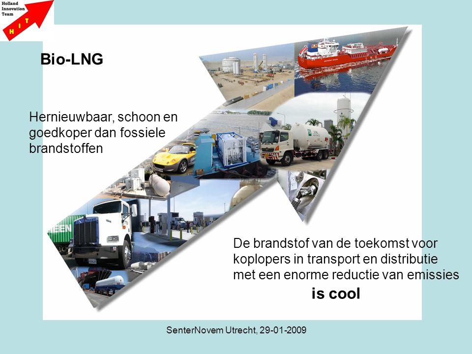 SenterNovem Utrecht, 29-01-2009 Liquefaction tot LNG versus bio-methaan Vloeibaar maken van puur bio- methaan (98%) kost aan energie 0,55 kWh (6% van energie-inhoud) Bio-LNG is gemakkelijker te maken en goedkoper dan het reguliere LNG proces, herroepelijk, afvang van CO2 mogelijk, weinig of geen transport Verwijdering zware metalen Verwijdering water, CO2 Verwijdering ethaan, propaan Opwaarderingkosten zijn 50% van het hele proces