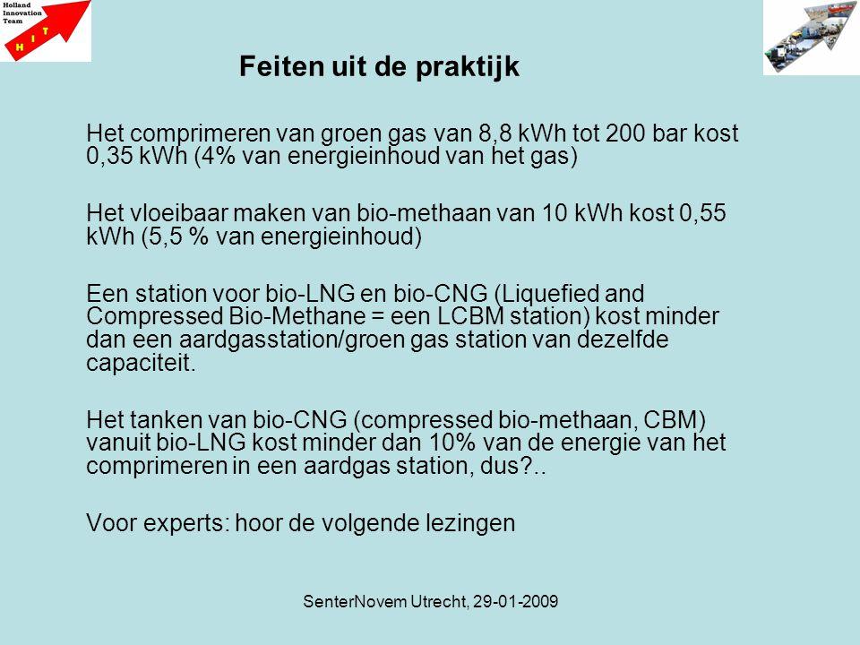 SenterNovem Utrecht, 29-01-2009 Het comprimeren van groen gas van 8,8 kWh tot 200 bar kost 0,35 kWh (4% van energieinhoud van het gas) Het vloeibaar maken van bio-methaan van 10 kWh kost 0,55 kWh (5,5 % van energieinhoud) Een station voor bio-LNG en bio-CNG (Liquefied and Compressed Bio-Methane = een LCBM station) kost minder dan een aardgasstation/groen gas station van dezelfde capaciteit.