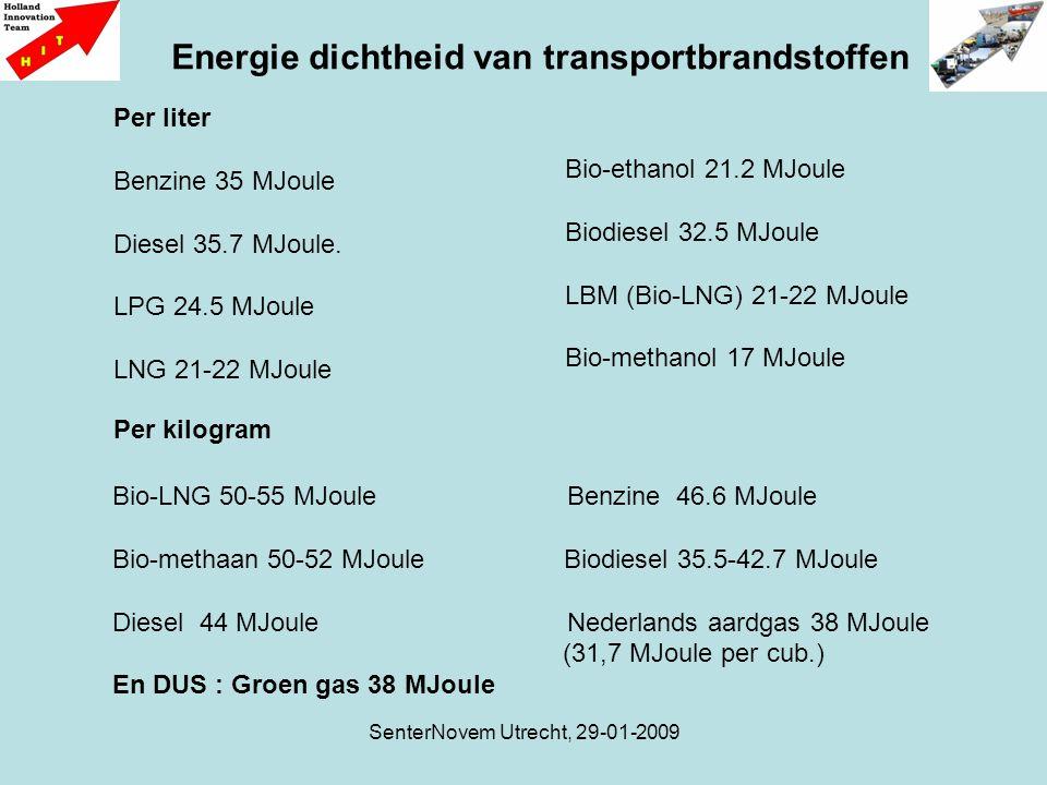 SenterNovem Utrecht, 29-01-2009 Energie dichtheid van transportbrandstoffen Per liter Benzine 35 MJoule Diesel 35.7 MJoule. LPG 24.5 MJoule LNG 21-22