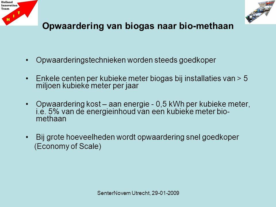 SenterNovem Utrecht, 29-01-2009 Opwaardering van biogas naar bio-methaan Opwaarderingstechnieken worden steeds goedkoper Enkele centen per kubieke meter biogas bij installaties van > 5 miljoen kubieke meter per jaar Opwaardering kost – aan energie - 0,5 kWh per kubieke meter, i.e.