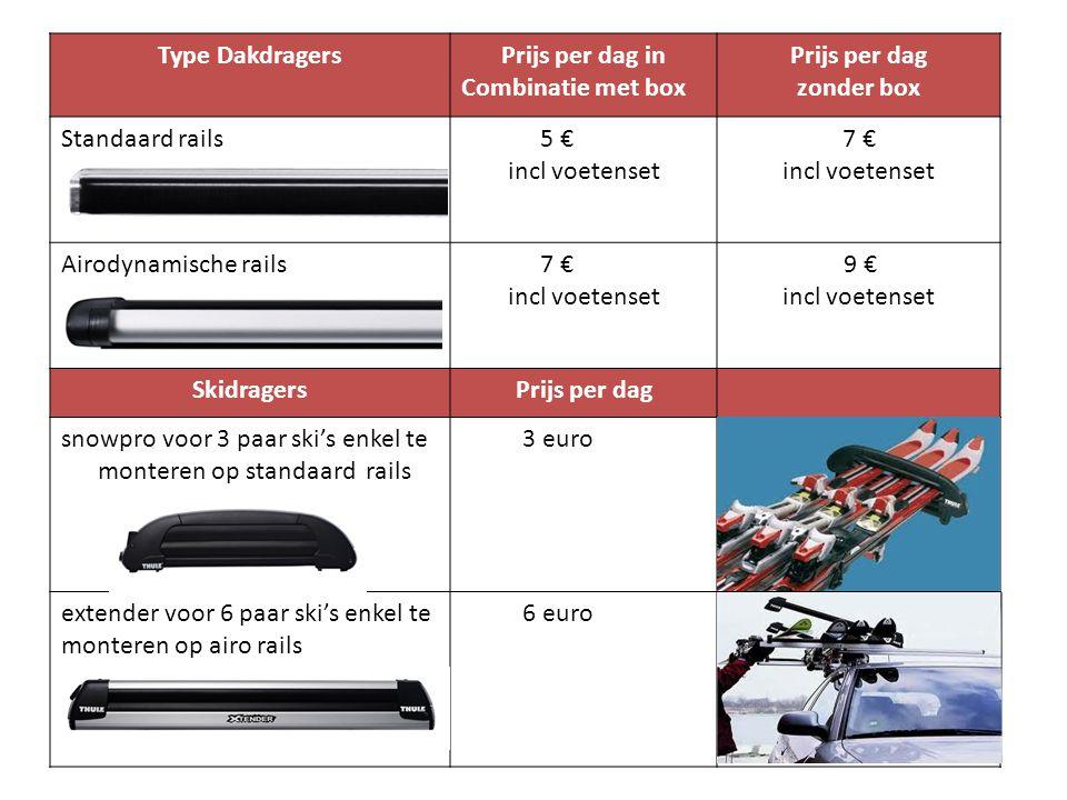 Type DakdragersPrijs per dag in Combinatie met box Prijs per dag zonder box Standaard rails 5 € incl voetenset 7 € incl voetenset Airodynamische rails 7 € incl voetenset 9 € incl voetenset SkidragersPrijs per dag snowpro voor 3 paar ski's enkel te monteren op standaard rails 3 euro extender voor 6 paar ski's enkel te monteren op airo rails 6 euro