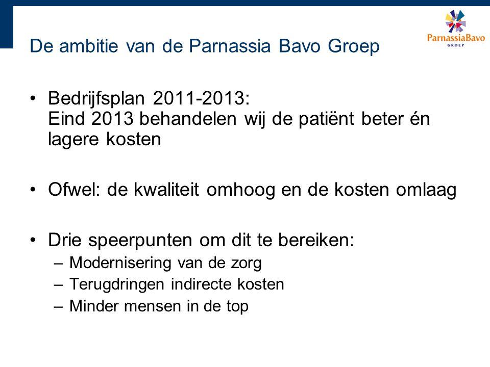 De ambitie van de Parnassia Bavo Groep Bedrijfsplan 2011-2013: Eind 2013 behandelen wij de patiënt beter én lagere kosten Ofwel: de kwaliteit omhoog e